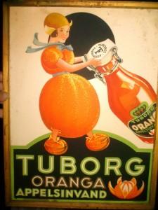 ORANGA appelsinvand fra Tuborg - pap i ramme 44 x 33 cm - måske 1924