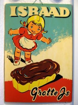 - ISBAAD fra Grotte IS - papskilt str. 48 x 33 cm (1950'erne)