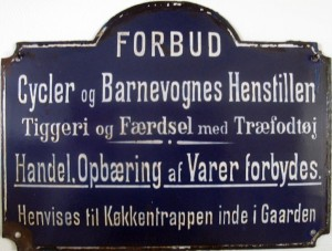 Forbudsskilt i emalje ca. 1900